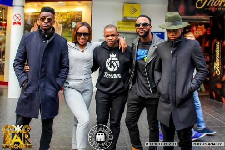 Iyanya flanked by Tekno, Emma Nyra, SeleBobo and Ubi Franklin when the relationship was still rosy [GalleriaNews]