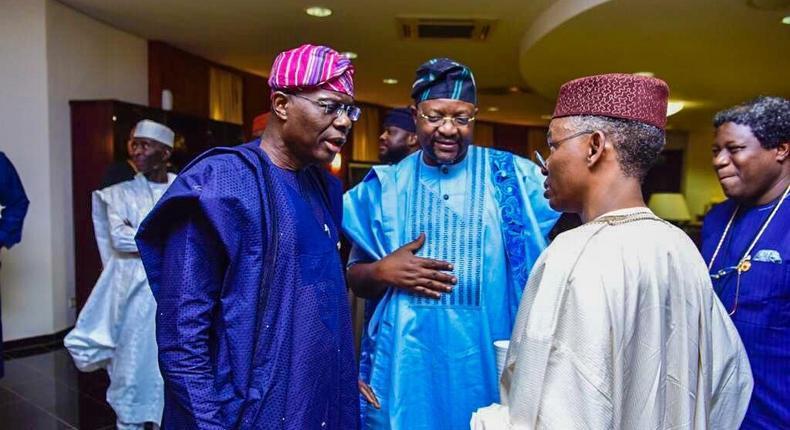 From left: Lagos state Governor, Babajide Sanwo-Olu; Minister of Youth and Sports Development, Sunday Dare and Governor Nasiru El Rufai of Kaduna state. [Twitter/@GovKaduna]