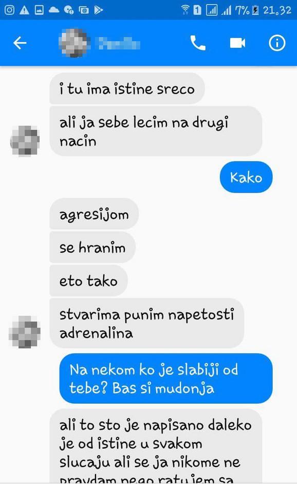 Poruke koje je slao devojci koja je objavila da je nahuškao staforda na lutalicu