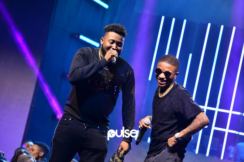 Wizkid and Chinko Ekun on stage at the Exclusive Live concert