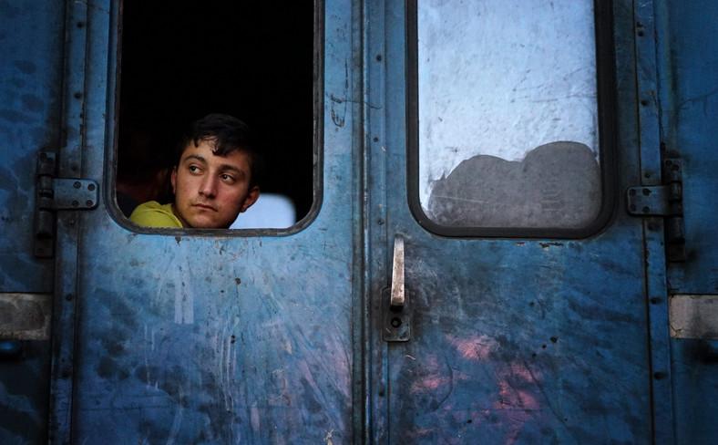 Uchodźcy w pociągu niedaleko miejcowości Gevgelija w Macedonii, zmierzający w kierunku granicy z Serbią