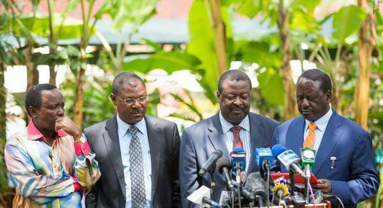 Opposition leaders (from left) Kalonzo Musyoka, Moses Wetang'ula, Musalia Mudavadi and Raila Odinga at Nairobi Serena Hotel on January 31,2017.