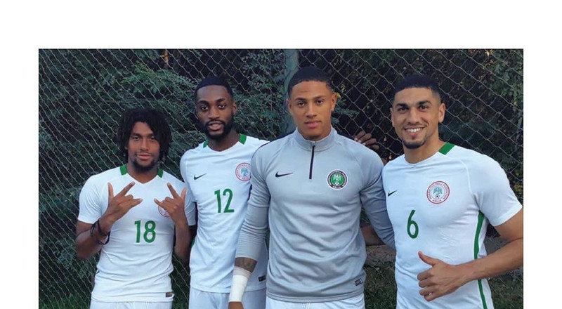 Super Eagles new boys Dennis Bonaventure, Maduka Okoye, Joe Aribo and Josh Maja perform renditions of popular songs in front of teammates for their initiation
