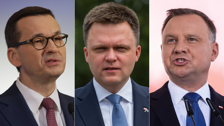 Sondaż zaufania IBRiS: A. Duda (P), M. Morawiecki (L) i S. Hołownia (Ś)