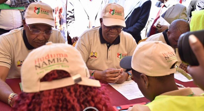 PS Karanja Kibicho and Nyandarua Governor Francis Kimemia during the pilot phase of Niims at Nyandarua (Twitter)