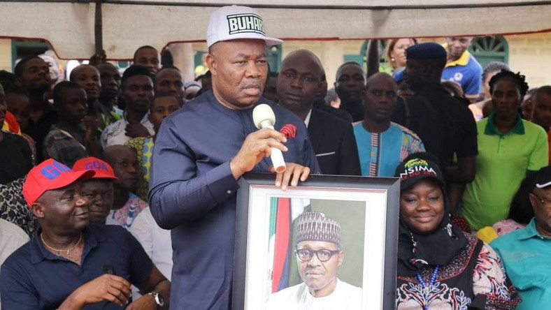 Akpabio storms rally with Buhari's official portrait