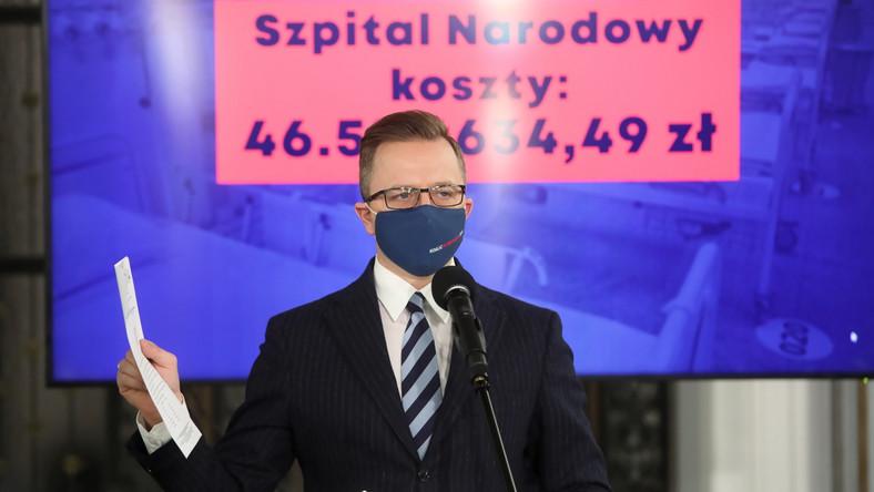 Konferencja KO na temat kosztów funkcjonowania Szpitala Narodowego