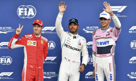 Sebastijan Fetel, Luis Hamilton i Esteban Okon posle kvalifikacija u Belgiji