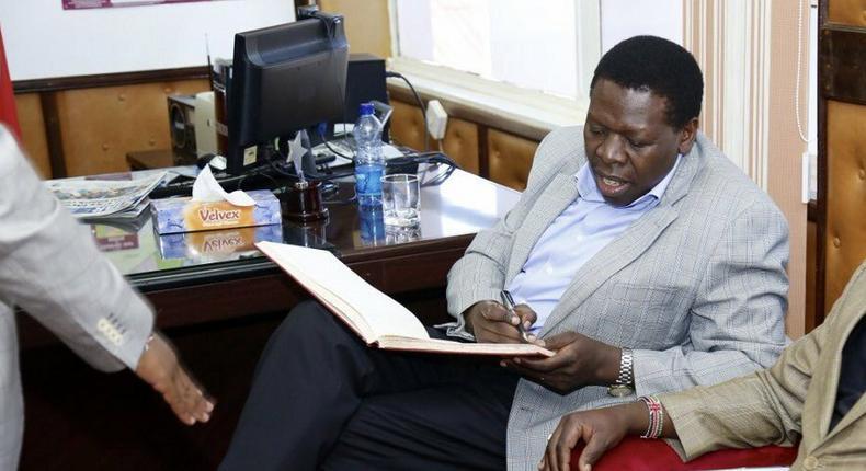 Devolution CS Eugene Wamalwa during a recent visit to the Embu County (Twitter)