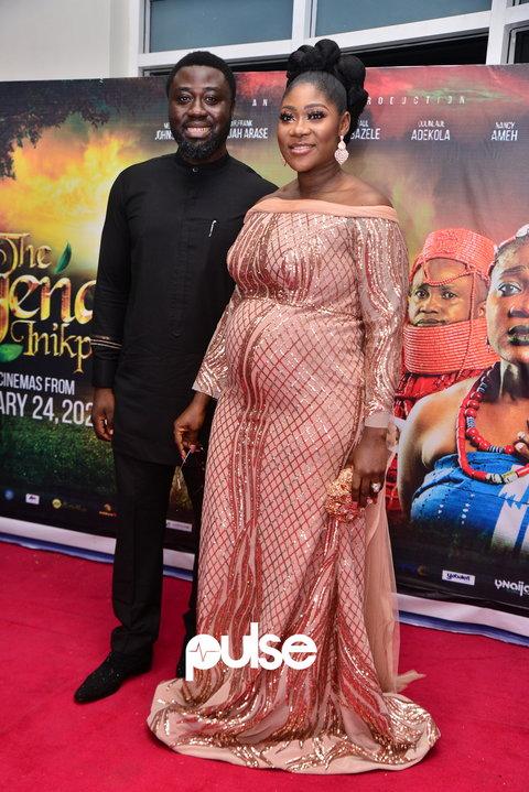 Mercy Johnson-Okojie and her husband, Prince Odi Okojie, at the film premiere [PULSE]