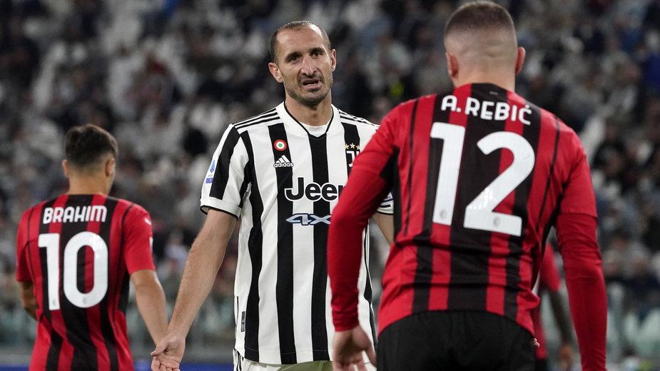 Giorgio Chiellini (z lewej) i Ante Rebić (z prawej)