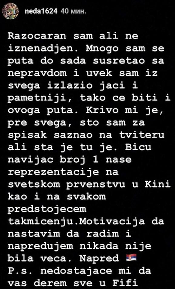 Poruka Nemanje Nedovića na Instagramu