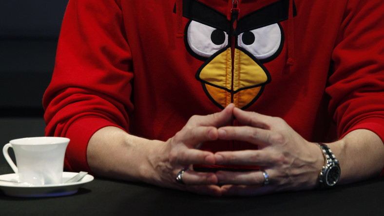 Rovio Entertainment Senior Vice-President Holm wears Angry Birds jacket during news conference in Hong Kong