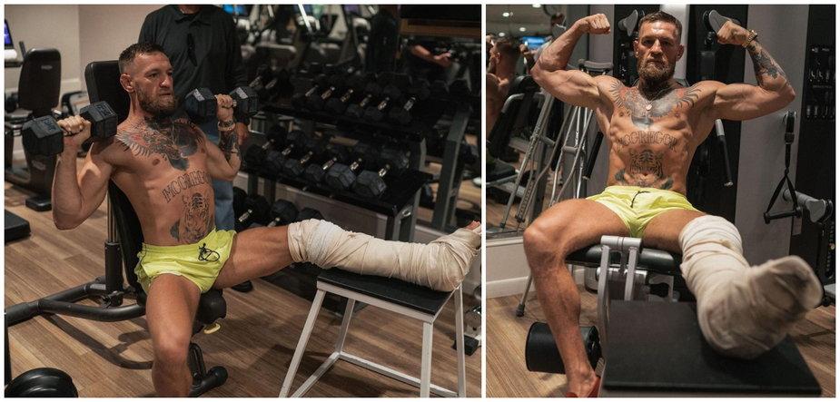 Bez wymówek! Conor McGregor na treningu ze złamaną nogą