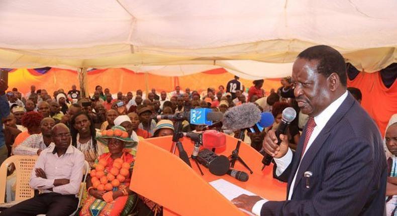 Orange Democratic Movement party leader Raila Odinga at Orange House, the political group's headquarters, in Nairobi on March 28, 2017.