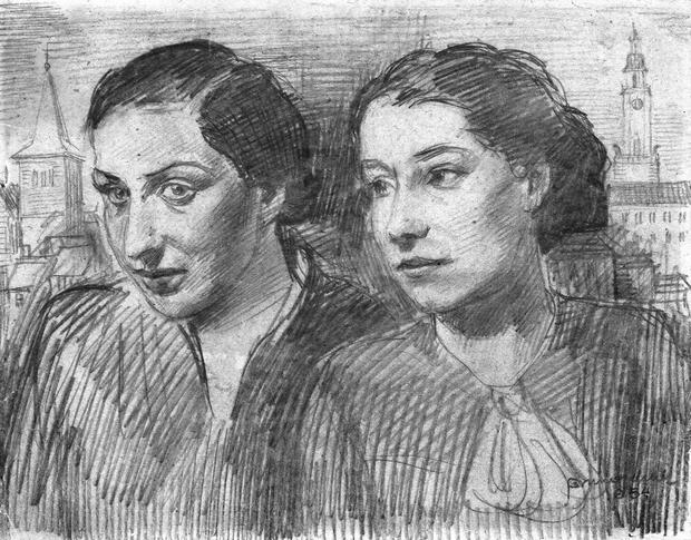 Józefina Szelińska i jej przyjaciółka, rys. Brunona Schulza