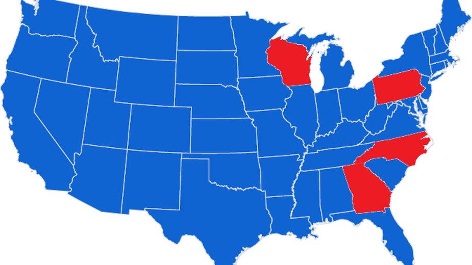 Pensylwiania, Georgia, Karolina Północna i Wisconsin - te stany mogą pomóc zadecydować o zwycięstwie w wyborach w USA