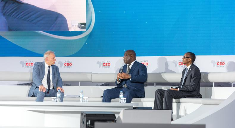 President Felix Tshisekedi Of Democratic Republic of Congo and Rwanda's Paul Kagame share stage at the Africa CEO Forum 2019