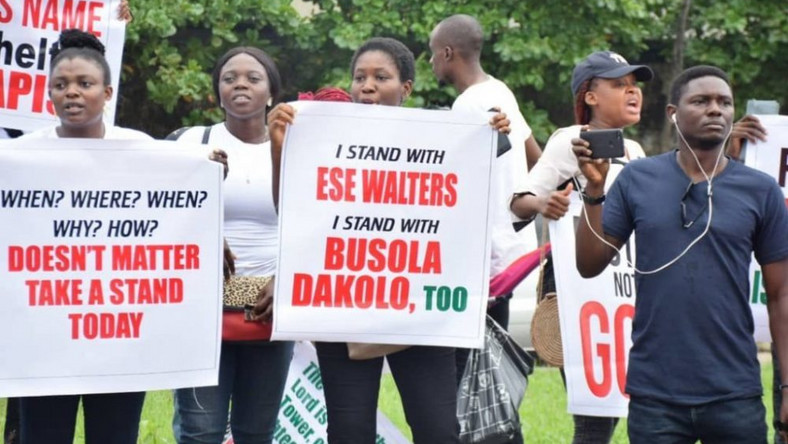 Protesters occupy COZA church in Lagos, screaming no to rape