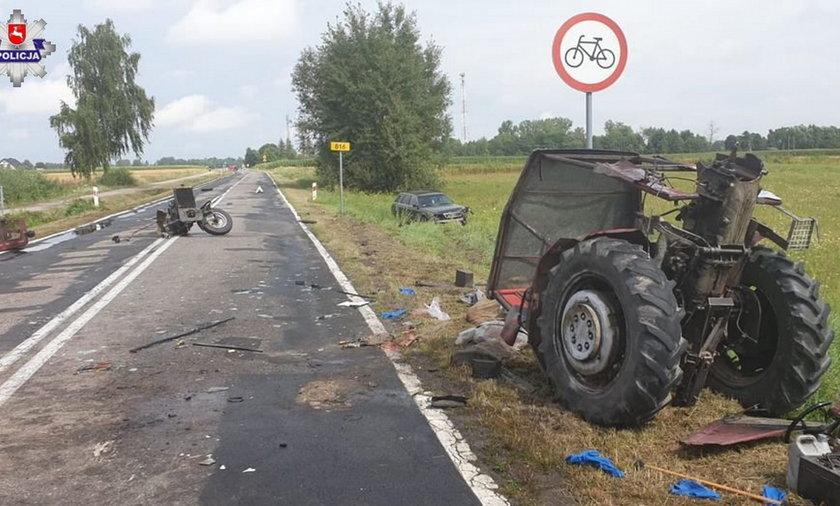 Koszmarny wypadek w Dołhobrodach. Ciągnik rozpadł się na pół