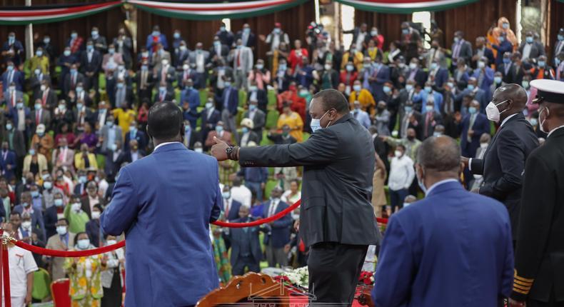 President Uhuru Kenyatta at Bomas of Kenya during the BBI launch