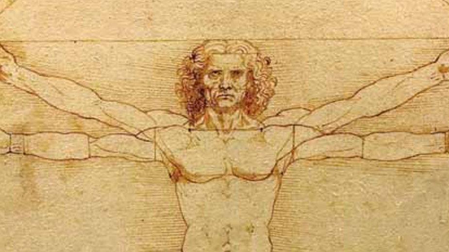 """""""Człowiek witruwiański"""" (ok. 1485) - studium proporcji ludzkiego ciała; być może również autoportret 33-letniego wówczas Leonarda"""