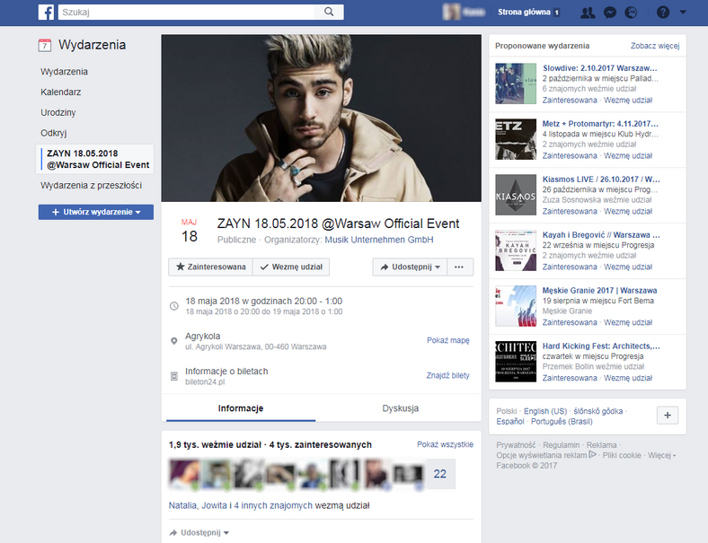 Zayn w Warszawie - wydarzenie na Facebooku