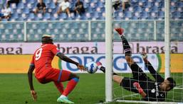 Slice of fortune: Sampdoria goalkeeper Emil Audero had fallen back over his Victor Osimhen's soft shot arrived Creator: ANDREAS SOLARO
