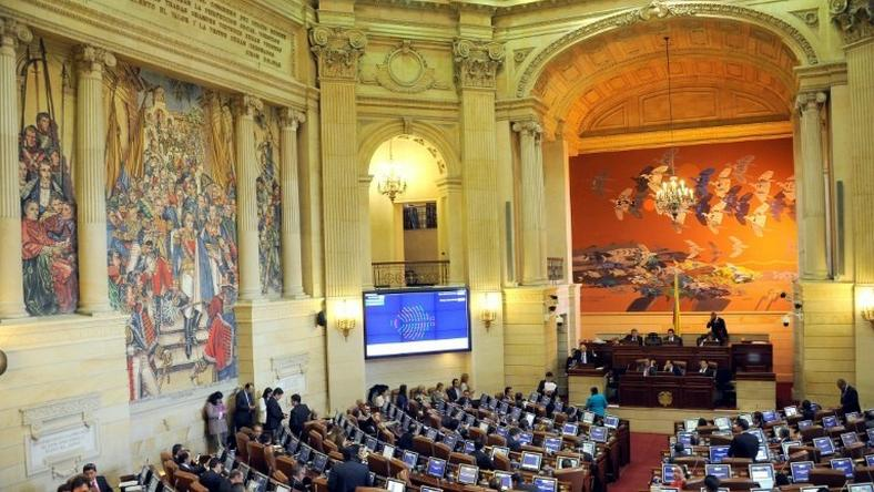 View of the Colombian Congress' house of Representatives during a session to endorse the new peace agreement signed between the government and the FARC, in Bogota, on November 30, 2016