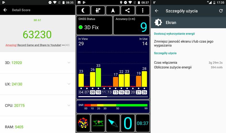 Xiaomi Mi A1 AnTuTu Benchmark, GPS, czas pracy na baterii