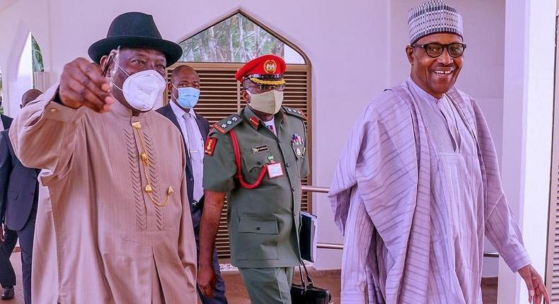 Former President Goodluck Jonathan (left) with incumbent President Muhammadu Buhari (right) [Presidency]