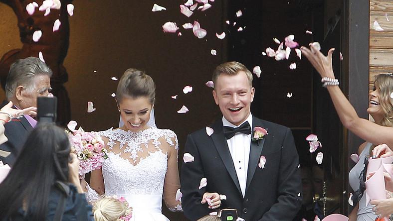 Kuba Wesołowski i Agnieszka Szczurek już po ślubie.