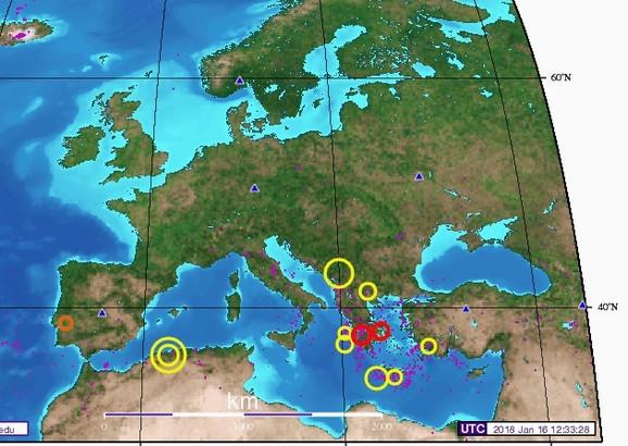 Na ovoj mapi se vidi da  se u poslednjih mesec dana desilo nekoliko većih zemljotresa na Balkanu