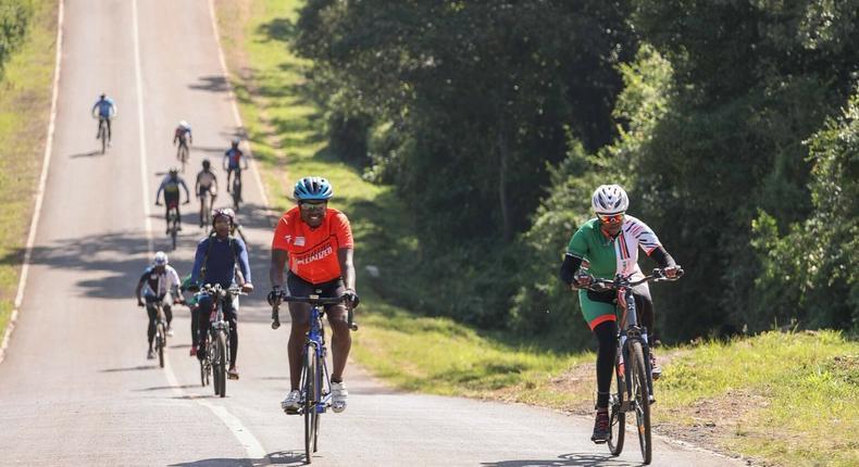 Mama Rachel Ruto with her cycling club on January 26, 2021