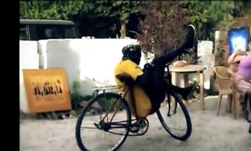 Mistrz roweru daje czadu. WIDEO