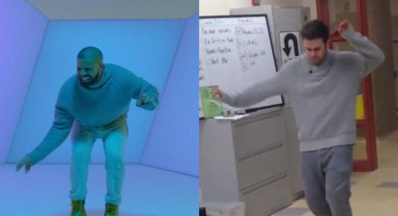 """Maths Teacher goes viral after dancing to """"Hotline Bling for his students"""