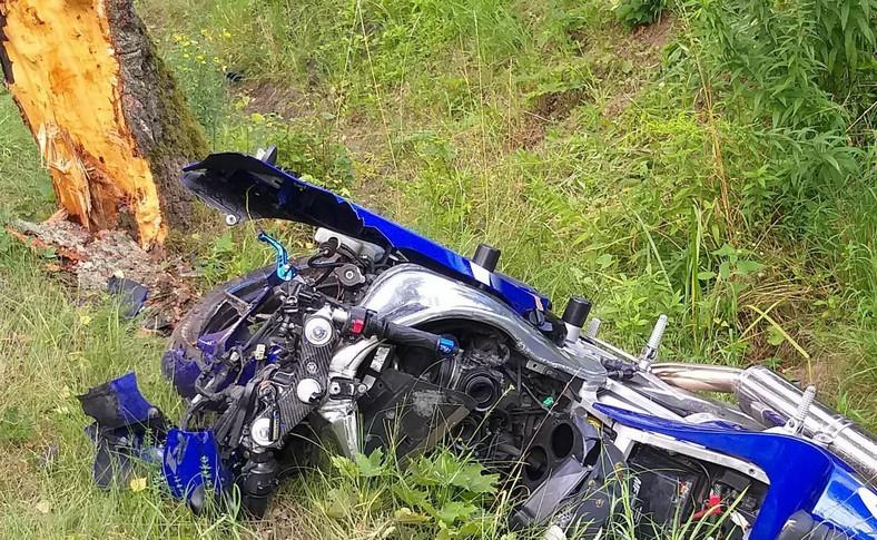 Motocyklista zderzył się z sarną i uderzył w drzewo
