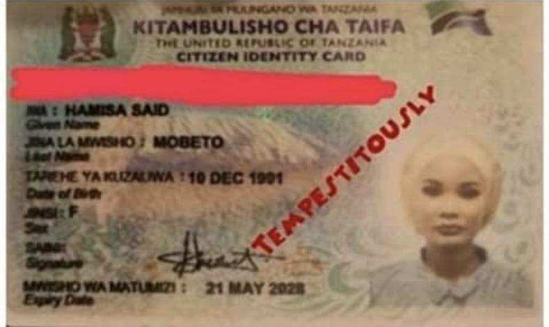Hamisa Mobetto's ID Card