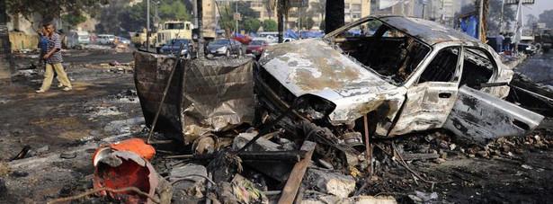 Zniszczenia po demonstracjach w Egipcie