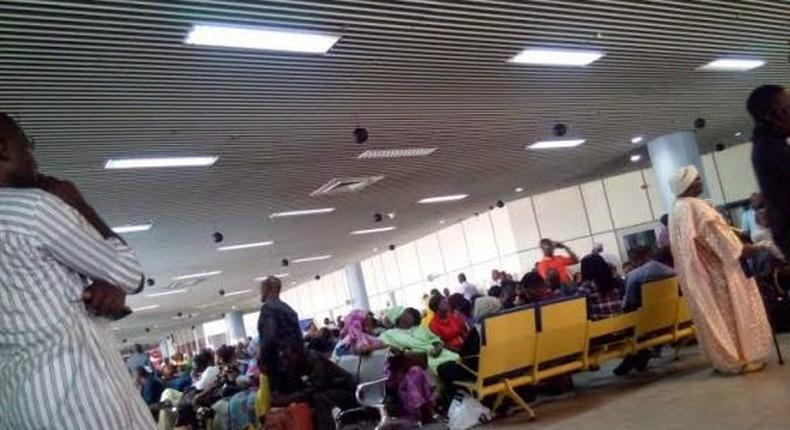 Passengers at the Murtala Mohammed Airport in Lagos