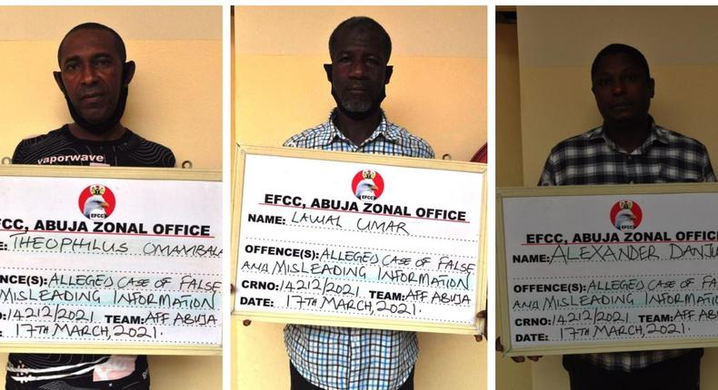 L-R: Theophilus Omambala, Lawal Umar, and Alexander Danjuma [EFCC]