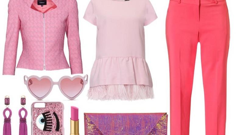 Cukierkowo-różowe spodnie proponujemy połączyć z odcieniami fuksji, złota, fioletu, bo lato to najlepsza okazja, by pobawić się kolorem.