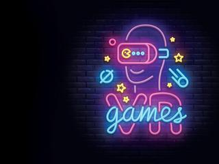 Video Games logos collection neon sign Vector design template. Conceptual Vr games, Retro Game night logo in neon style, gamepad in hand, modern trend design, light banner. Vector illustration
