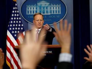 Sean Spicer holds a press briefing at the White House in Washington