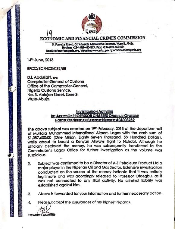EFCC Chairman letter clearing Prof Ofoegbu of A-Z Petroleum Products Ltd 1 resized