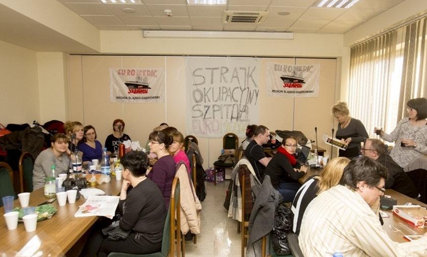 protest w katowickim szpitalu Euromedic