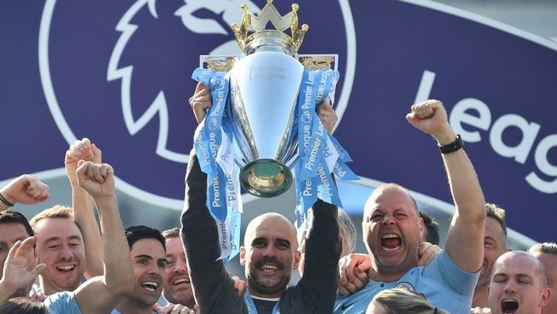Serial winner: Pep Guardiola won his eighth top-flight league title as a coach in 10 seasons on Sunday