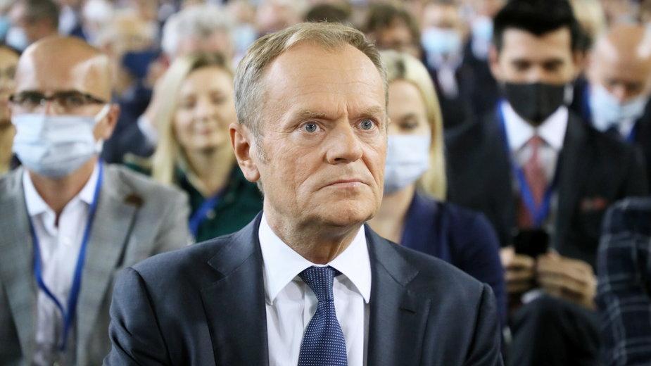 Donald Tusk podczas Krajowej Konwencji Platformy Obywatelskiej RP w Płońsku