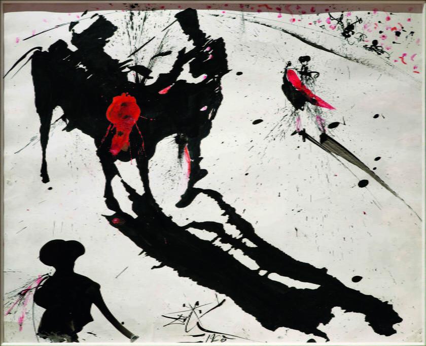 Salvador Dali, Walka byków nr 1, 1965, tusz, pędzel, olej na papierze, 40,6 x  48,2, kolekcja prywatna