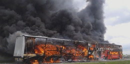 Koszmar na autostradzie A4. Spłonął Polski Bus i ciężarówka